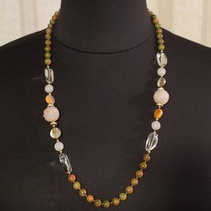 Rose Stone, Green/Pink Granite, Crystal Necklace